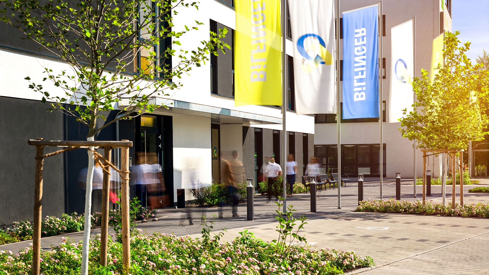 View of the entrance of the Bilfinger headquarters in Mannheim, Germany